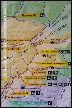 Карта трассы Хааст, Map of HWY Haast, Южный остров, South Island, Новая Зеландия, New Zealand