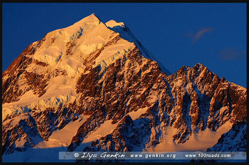 Гора Кука, Маунт Кук, Mount Cook, Аораки, Aoraki, Aoraki Mount Cook National Park, Южный остров, South Island, Новая Зеландия, New Zealand