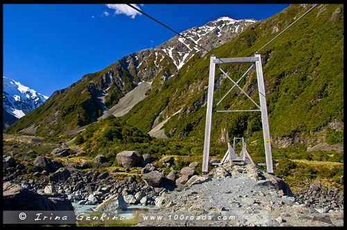 Первый подвесной мост, Тропа Долины Хукер, Hooker Valley Track, Aoraki Mount Cook National Park, Южный остров, South Island, Новая Зеландия, New Zealand