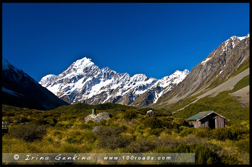 Сторожка, Приют, Stocking Stream Shelter, Тропа Долины Хукер, Hooker Valley Track, Aoraki Mount Cook National Park, Южный остров, South Island, Новая Зеландия, New Zealand