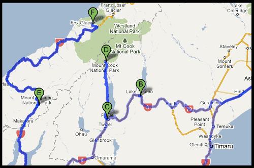 План маршрута, Южный остров, South Island, Новая Зеландия, New Zealand
