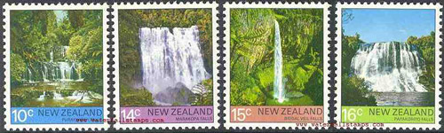 Марка водопада Пуракаунуи, Пу Ракау Нуи, Перакауни,, Stamp of  Purakaunui Falls, The Catlins, Southland Region, Южный остров, South Island, Новая Зеландия, New Zealand