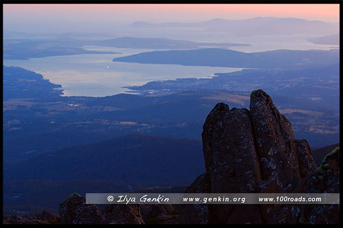 Вид на Хобарт  (Hobart), Гора Веллингтон, Mt Wellington, Тасмания, Tasmania, Австралия, Australia