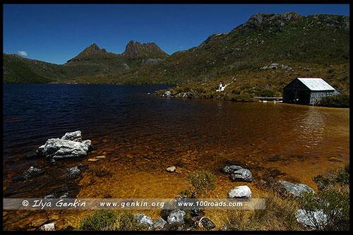 Лодочный сарай (Boat shed), Озеро Дав, Lake Dove, Озеро Голубка, Парк Крэдл Маунтен, Cradle Mountain NP, Тасмания, Tasmania, Австралия, Australia