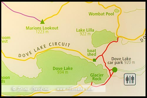 Карта-схема, Map, Озеро Дав, Lake Dove, Озеро Голубка, Парк Крэдл Маунтен, Cradle Mountain NP, Тасмания, Tasmania, Австралия, Australia