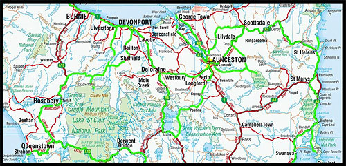 Карта Тасмании, Tasmania map, Австралия, Australia