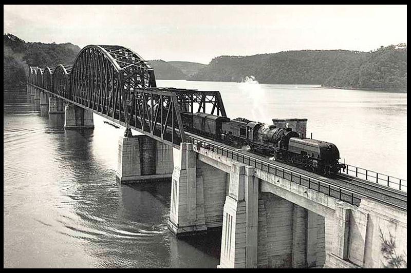 Старое фото Железнодорожного моста реки Хоксбери, Hawkesbury River Railway Bridge, Новый Южный Уэльс, New South Wales, Австралия, Australia