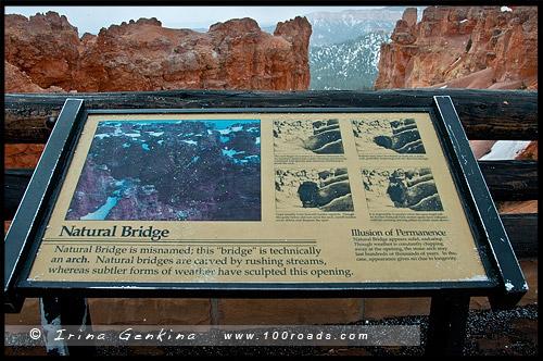 Утро, Природный мост, Natural Bridge, Каньон Брайс, Bryce Canyon, Юта, Utah, США, USA, Америка, America