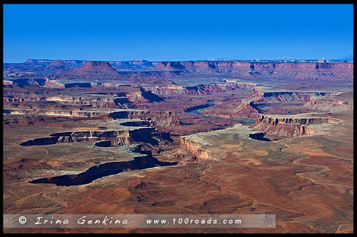 Обзорная площадка, Green River Overlook, район Остров в небе, Island in the Sky District, Национальный парк Каньонлэндс, Canyonlands National Park, Юта, Utah, США, USA, Америка, America