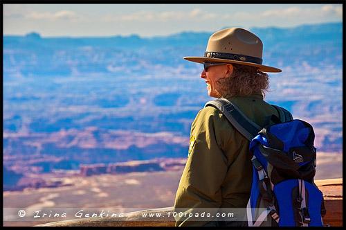 Обзорная площадка, Grand View Point Overlook, район Остров в небе, Island in the Sky District, Национальный парк Каньонлэндс, Canyonlands National Park, Юта, Utah, США, USA, Америка, America