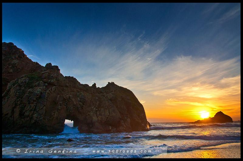 Арка на пляже Пфайффера, Pfeiffer Beach Arch, Биг Сюр, Big Sur, Калифорния, California, США, USA, Америка, America