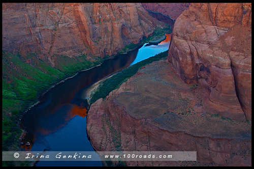 Изгиб подкова, Horseshoe Bend, Пейдж, Page, Аризона, Arizona, США, USA, Америка, America