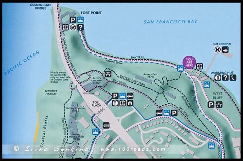 Карта Пресидио, Map Presidio, Сан Франциско, San Francisco, Калифорния, California, СЩА, USA, Америка, America