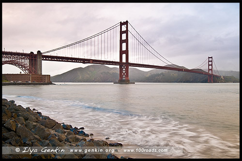 Мост Золотые Ворота, Golden Gate Bridge, Сан Франциско, San Francisco, Калифорния, California, СЩА, USA, Америка, America