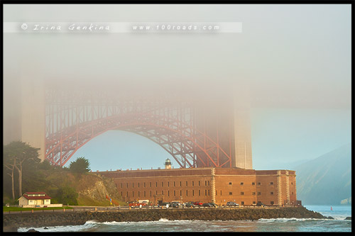 Форт Пойнт, Fort Point, Мост Золотые Ворота, Golden Gate Bridge, Сан Франциско, San Francisco, Калифорния, California, СЩА, USA, Америка, America