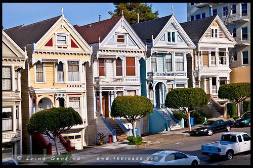 Раскрашенные леди, Painted Ladies, Аламо-Cквер, Alamo Square, Сан Франциско, San Francisco, Калифорния, California, СЩА, USA, Америка, America