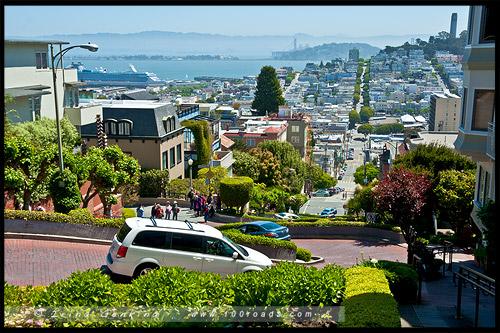Ломбард стрит, Lombard Street, Сан Франциско, San Francisco, Калифорния, California, СЩА, USA, Америка, America