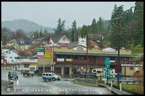 Въезд в городок, Марипоса, Mariposa, Национальный парк Йосемити, Yosemite National Park, Калифорния, California, СЩА, USA, Америка, America