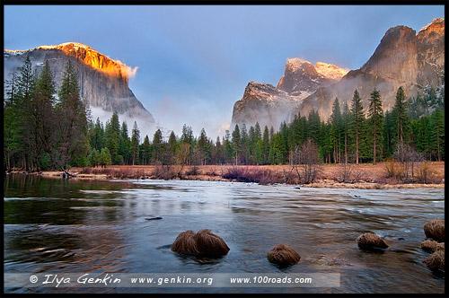 Вид Долины, Valley View, Национальный парк Йосемити, Yosemite National Park, Калифорния, California, СЩА, USA, Америка, America