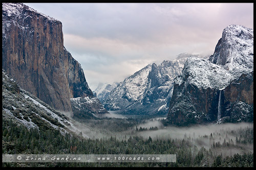 Вид от тоннеля, The Tunnel View, Национальный парк Йосемити, Yosemite National Park, Калифорния, California, СЩА, USA, Америка, America
