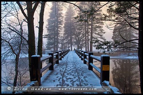 Качающейся мост, Swinging Bridge, Национальный парк Йосемити, Yosemite National Park, Калифорния, California, СЩА, USA, Америка, America