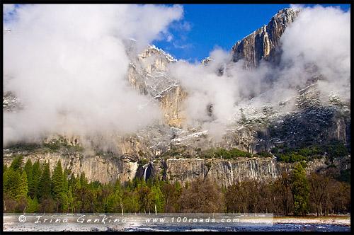 Водопад Йосемити, Yosemite Fall, Национальный парк Йосемити, Yosemite National Park, Калифорния, California, СЩА, USA, Америка, America