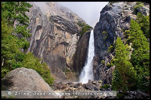 Нижний Водопад Йосемити, Lower Yosemite Fall, Национальный парк Йосемити, Yosemite National Park, Калифорния, California, СЩА, USA, Америка, America