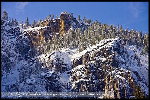 Фрагмент Скал Кафедральный собор, Cathedral Rock, Национальный парк Йосемити, Yosemite National Park, Калифорния, California, СЩА, USA, Америка, America